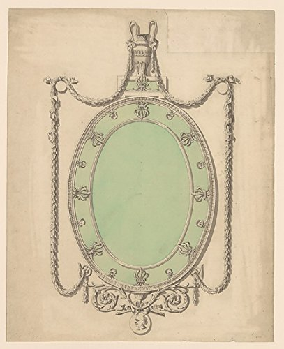 The Poster Corp Sir William Chambers - Design for an Oval Mirror Surmounted by an Urn and Draped with Neoclassic Swags Kunstdruck (45,72 x 60,96 cm) Swag Urn