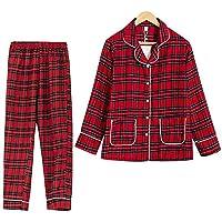 DUKUNKUN Plaid Pijamas Mujeres Turn-Down Cuello Manga Larga 2 Piezas Traje De Algodón Home Wear-S