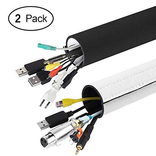 Kabelschlauch, opamoo Neopren Klettverschluss Kabelschlauch 3 M Einstellbare Flexible Cord Organizer Kabelkanal Kabelhülle Schutz-System für DES TV, Computer, Heimkino (150x13,5cm,150x10,2cm)