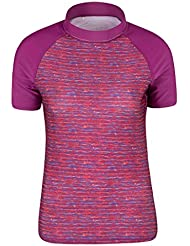 Mountain Warehouse Womens Patterned Rash Vest - SPF50+ Sun Protection, Short Sleeve Ladies Rash Guard, Quick Drying, Flat seams Swimwear, Stretch Summer Top- For Swimming