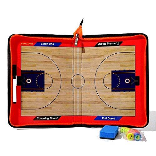 Ternly® Basketball Fußball Fußball-Trainer Magnettafel Strategie Taktik Coaches Board Coaching Klemmbrett Kit mit Marker Board Leder (Magnet Reißverschluss Basketball Taktik)