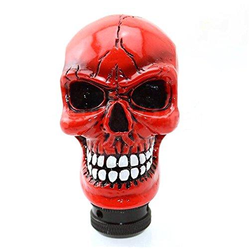 Scochemall auto leva del cambio Shifter pomello del cambio Leva universale manuale Racer Skull (Rosso )