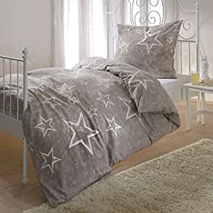 bettwaren shop biber bettw sche sterne taupe 135x200 cm 80x80 cm k che haushalt. Black Bedroom Furniture Sets. Home Design Ideas