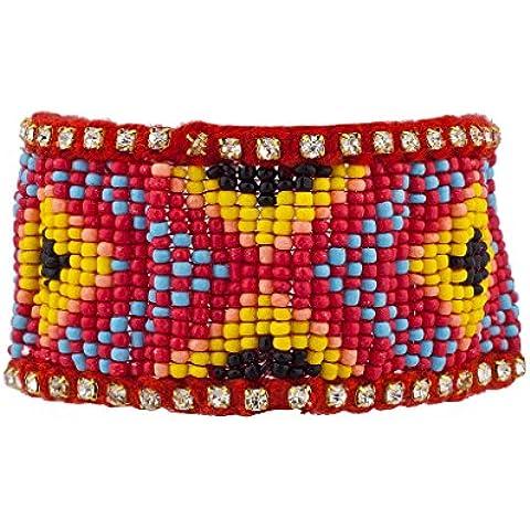 Lux accessori, misura grande, colore: rosso con motivo tribale per semi, braccialetto elastico con perline