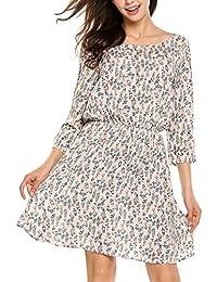 Zeagoo Damen Boho Blumen Kleid Rundhals A Linie Knielang Sommerkleider 3 4  Ärmel Casual Kleid 811d560eee
