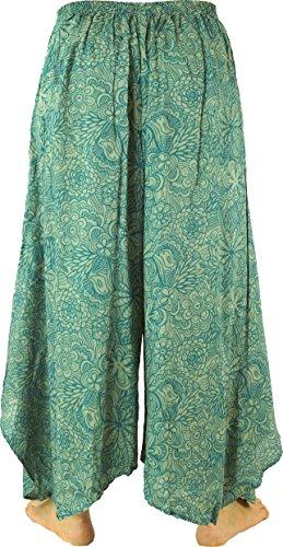 Guru-Shop Palazzohose Hosenrock Schlaghose Sommerhose Hippie Goa Hose, Damen, Viskose, Size:38, Lange Hosen Alternative Bekleidung Grün