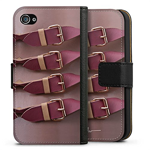 Apple iPhone X Silikon Hülle Case Schutzhülle Schnallen Rot Mode Lederstruktur Sideflip Tasche schwarz