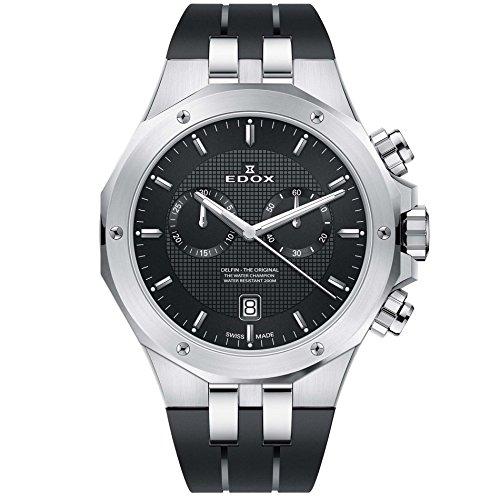 Edox Men's Delfin The Original 43mm Black Swiss Quartz Watch 10110 3CA NIN