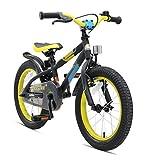 BIKESTAR Premium Sicherheits Kinderfahrrad 16 Zoll für Mädchen und Jungen ab 4-5 Jahre ★ 16er Kinderrad Mountainbike ★ Fahrrad für Kinder Schwarz & Grün