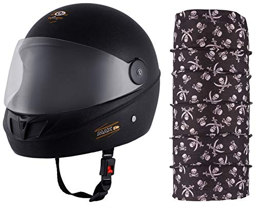 Autofy O2 Max DLX Full Face Helmet With Scratch Resistant Visor (Matte Black,M) and Autofy Pirate Skull Print Lycra Headwrap Bandana for Bikes (Black and White, Free Size) Combo