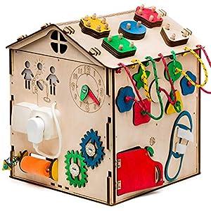 Aktivitätswürfel Holz mit Licht 16 in 1 Motorikwürfel Montessori Aktivitätsbrett Entwickelndes Spielzeug Beschäftigtes…