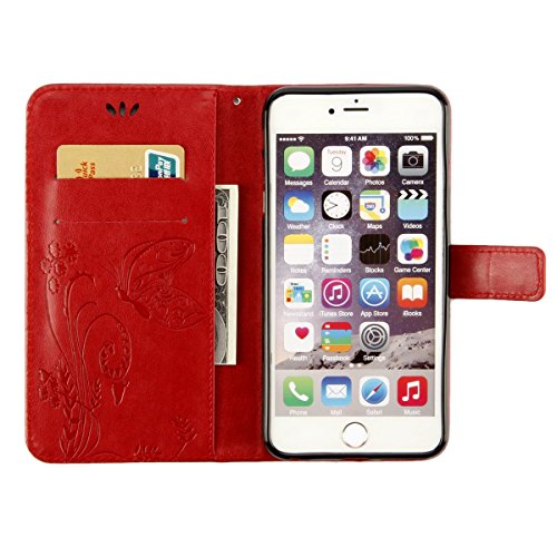 ISAKEN Custodia iPhone 6 Plus, Cover iPhone 6S Plus, Elegante borsa Custodia in Pelle Protettiva Flip Portafoglio Case Cover per Apple iPhone 6 Plus (6 5.5) / con Supporto di Stand / Carte Slot / Chi Farfalla: rossa