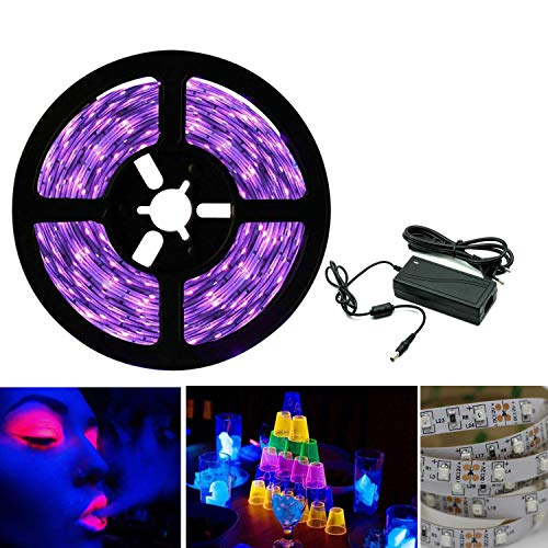 Tira de luces LED UV de luz negra, banda SMD 3528, luz ultravioleta, con fuente de alimentación, lila...