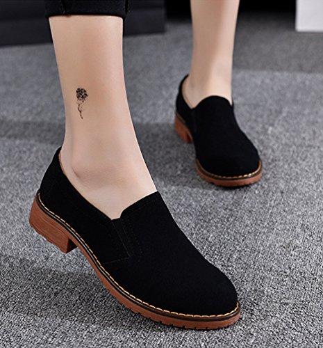 Yiiquan Donna Testa Rotonda Moda Scarpe Col Tacco Basso Piatto Casuale Comfort Retro Scarpe Nero