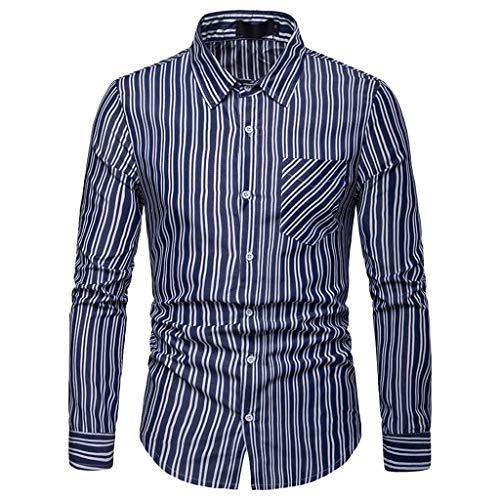 Herren Classic Business Gestreiftes Casual Revers Tasche Langarm Shirt(Marine,M)