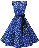 Bbonlinedress 50s Vestidos Vintage Retro Rockabilly Clásico Royalblue Leaves 3XL