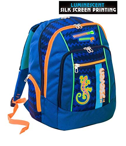 Zaino scuola advanced seven - gecko boy blu - patch fosforescenti - 30 lt - inserti rifrangenti