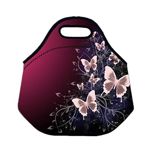 Tskybag, borsa portapranzo, da pic nic, campeggio, viaggio, per ragazzi e ragazze, in neoprene, con isolamento termico, con cerniera starry butterflies