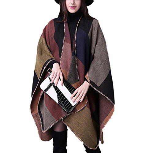 Inverno Reversibile Donna JLTPH Poncho Invernale da Donna Lavorato a Maglia Cachemire Poncho Capes Scialle Cardigan Maglione Cappotto color1