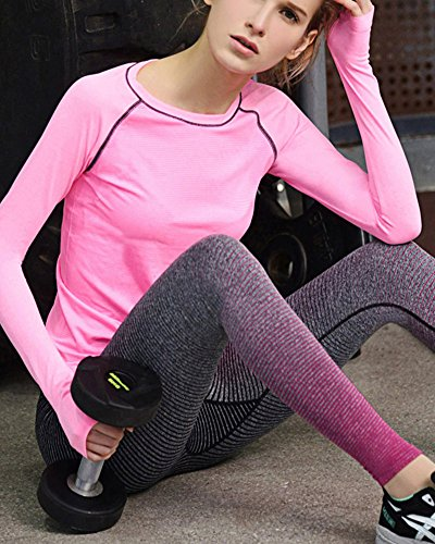 Donna Elasticità Moda Leggings Fitness Sportivo Jogging Yoga Athletic Pants Rose