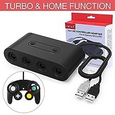 HEYSTOP Gamecube Controller Adapter para Nintendo Switch/Wii U/PC, (Versión Mejorada) Adaptador de mandos Gamecube para Wii U y PC con 4 Puertos