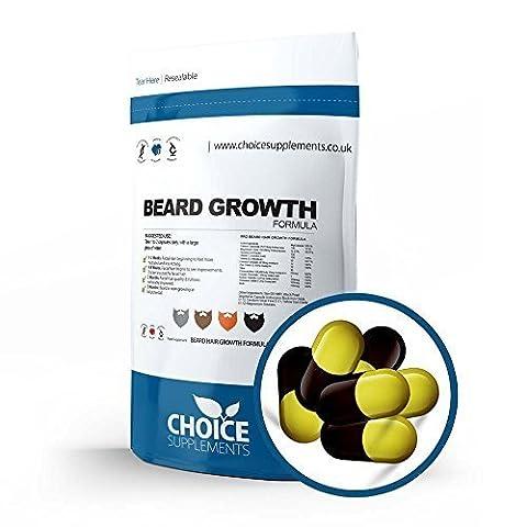 Choice Supplements Beard Growth Formula Capsules, Facial Hair Supplement - 100 % Natural UK Made (30 Capsules - Foil