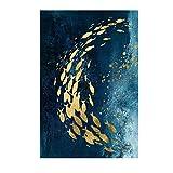 TianranRT Dekorativer Anstrich-nordischer moderner Goldfisch-Aquarell-rahmenloser Malerei-Kern (B,30x45cm)