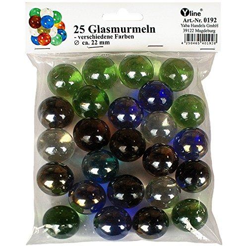 Preisvergleich Produktbild 25 Glasmurmeln verschied. Farben, Durchmesser ca. 22 mm, Glas Murmeln im SB Pack, 0192