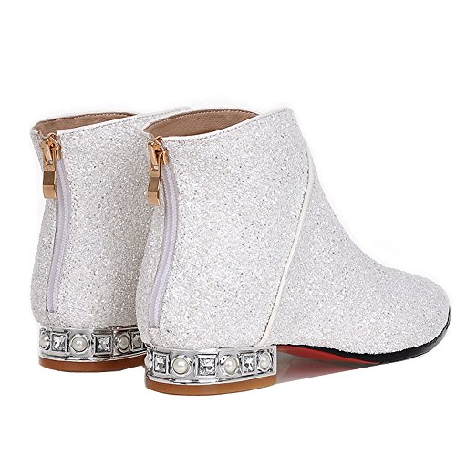 ENMAYER Femmes Paillettes Charme style cheville Bottes Blanc
