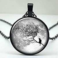 BYZ Necklaceblue Moon Twig with Cat Glass Round Pendant Necklace, Men