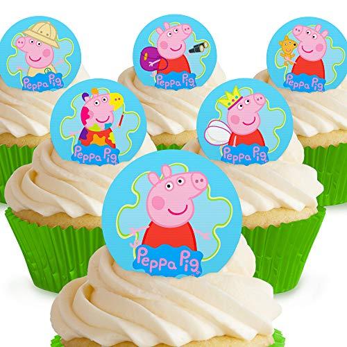 Toppershack 12 x Vorgeschnittene und Essbare Peppa Pig Peppa Kuchen Topper (Tortenaufleger, Bedruckte Oblaten, Oblatenaufleger)