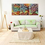 Raybre Art® 3pcs Impresión sobre Lienzo Cuadro Paisajes Abstractos Modernos Árboles de la Vida Colores Pintura al óleo para Arte Pared Decoración Hogar Sala, sin marco u bastidor