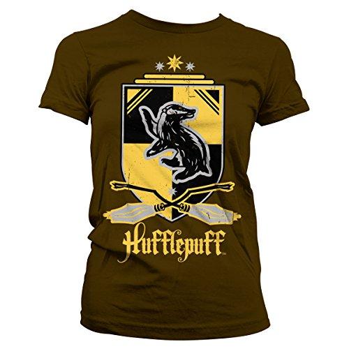 HARRY POTTER Offizielles Lizenzprodukt Hufflepuff Damen T-Shirt (Braun), Medium