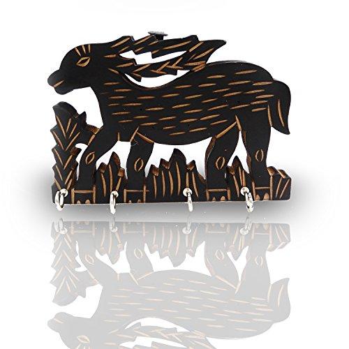 IndiaBigShop Holz Handmade Deer Form Wall Mountain Schlüsselanhänger mit handgefertigten Design mit vier Haken Organizer Verwendung für Heimtextilien und Büro verwenden auch Multi-Purpose-Größe 6,5 Zoll