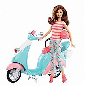 Barbie – Barbie et son Scooter – Poupée 30 cm et Véhicule - BLW82 - Mattel