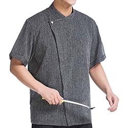 WAIWAIZUI Camisa de Cocinero Cocina Uniforme Manga Corta (XL)