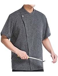 WAIWAIZUI Camisa de Cocinero Manga Corta Lino