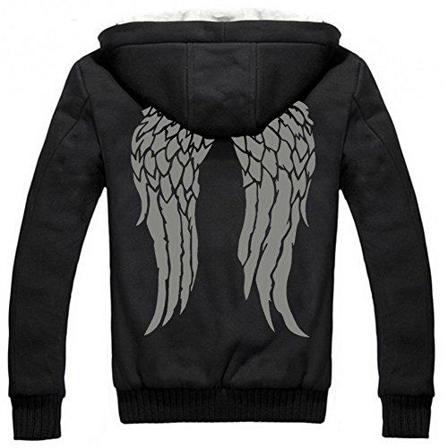 Herren Winter Hoodie Jacke Plus dicke Samt Pullover Warmhalten Mantel Kapuzenjacke schwarz
