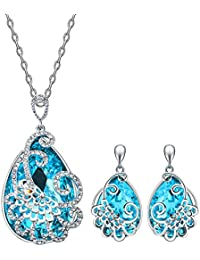 Young & Forever Allure Blue Waterdrop Crystal Earrings And Fancy Necklace Jewellery For Women Necklace Set Necklace...