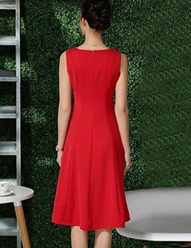 PU&PU Robe Aux femmes Mousseline de Soie Street Chic,Couleur Pleine Col en V Midi Polyester RED-M