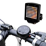 Luz led trasera de advertencia de giro para bicicleta, 64 luces led brillantes, resistente al agua, inteligente, inalámbrica