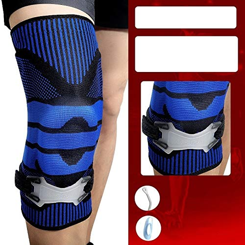 BBJOZ Dual Scales Knee Meniscus Injury Protection Professional Support + Silicone Protective Sleeve Warm Knee Joint Treadmill Paint Protection Kneepads (Color : F, Size : XL)
