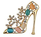 Silver Shoppee Dazzling Heel 18K Yellow Gold Plated Alloy Brooch For Women