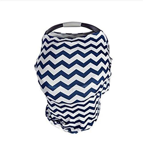 Neugeborene Baby stillen Marineblau Wave Stilltuch Schal Warenkorb Stilldecke Auto Himmel für Füttern (Auto Sitzbezüge Neugeborenen)
