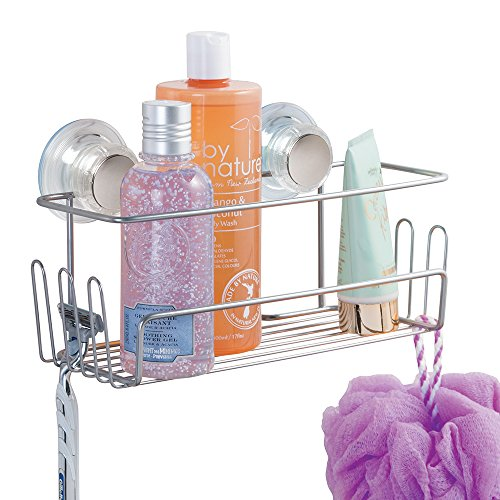 mDesign Turn-N-Lock Bathroom Shower Basket for Shampoo, Conditioner, Soap - Small, Silver