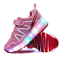 WYEING. USB Chargable LED Light Up Roller Shoes Wheeled Skate Breathable Mesh And Strap Sneakers Sneaker Shoes for Boys Girls Kids,Pink,30