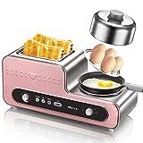 LSQ Multifunktionale 3-in1-Frühstücksmaschine, Toaster mit 2-Scheiben-Breitschlitzen, Antihaft-Bratpfanne, Grill, Dampfgarer, 6-stufige Einstellung für Küche, Büro (Roségold)