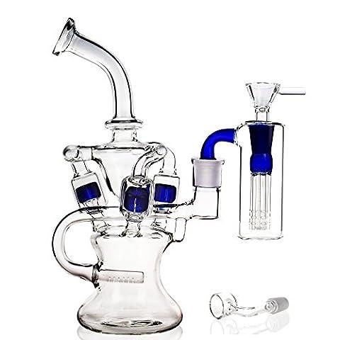 REANICE (OCEAN B) Recycleur le verre pong un verre d'eau bong narguilé 14.5mm bong bowl Hauteur 25cm tuyaux en verre d'eau tout en direction des plates formes pétrolières et bong grand verre filtre bleu trois couches avec accessoires