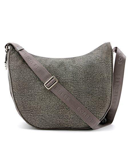 Borsa a tracolla Borbonese Luna Bag medium in Jet op fango