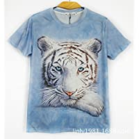 GZZ Camiseta de Manga Corta con Estampado de Tigre Blanco 3D de Verano para Hombres/Camiseta de Manga Corta con Estampado 3D de Manga Corta para Hombre de Gran tamaño/Delgada,Color,XXL